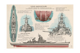 USS Missouri - Techinical Print by  Lantern Press