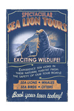 Sea Lion - Vintage Sign Poster by  Lantern Press