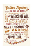 Gather Together - Thanksgiving Typography Posters by  Lantern Press