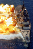 USS Missouri - Guns Firing Art by  Lantern Press
