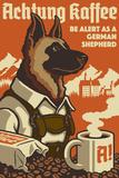 Lantern Press - German Shepherd - Retro Coffee Ad - Reprodüksiyon