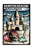 Hampton Beach, New Hampshire - Sandcastle - Scratchboard Art by  Lantern Press