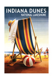 Indiana Dunes National Seashore, Indiana - Beach Chair and Ball Posters by  Lantern Press