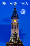 Philadelphia, Pennsylvania - City Hall and Full Moon Prints by  Lantern Press