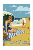 Indiana Dunes National Seashore, Indiana - Woman on Beach Prints by  Lantern Press