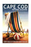 Cape Cod National Seashore - Beach Chair and Ball Print by  Lantern Press