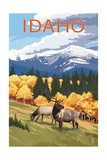 Idaho - Elk and Mountains Poster by  Lantern Press