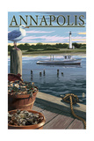 Annapolis, Maryland - Blue Crab and Oysters on Dock Posters by  Lantern Press