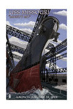 USS Missouri - Launch Scene Art by  Lantern Press