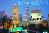 Indianapolis, Indiana - Skyline at Night Print by  Lantern Press