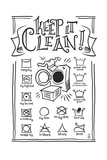 Laundry Symbols (White) Poster by  Lantern Press