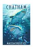 Chatham, Massachusetts - Stylized Tiger Sharks Prints by  Lantern Press