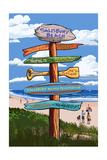 Salisbury Beach, Massachusetts - Signpost Destinations Prints by  Lantern Press