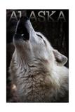 Alaska - Wolf Howling Poster by  Lantern Press