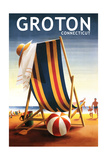 Groton, Connecticut - Beach Chair and Ball Posters by  Lantern Press
