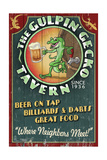 Gecko Tavern - Vintage Sign Plakater af Lantern Press