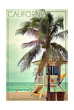 California - Lifeguard Shack and Palm Posters by  Lantern Press