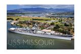 USS Missouri - Aerial Dock View Prints by  Lantern Press