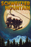 Schweitzer Mountain, Idaho - Ski Lift and Full Moon with Snowboarder Posters by  Lantern Press