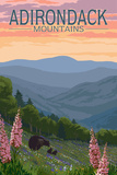 Adirondack Mountains, New York - Bears and Spring Flowers Prints by  Lantern Press