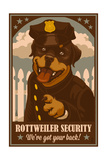 Rottweiler - Retro Security Ad Prints by  Lantern Press