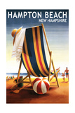 Hampton Beach, New Hampshire - Beach Chair and Ball Prints by  Lantern Press