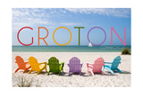 Groton, Connecticut - Colorful Beach Chairs Prints by  Lantern Press