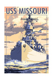 USS Missouri - Sunset Scene Posters by  Lantern Press