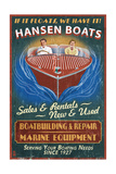Wooden Boats - Vintage Sign Poster by  Lantern Press