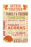 Gather Together - Thanksgiving Typography with Turkey Prints by  Lantern Press