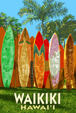 Waikiki, Hawai'i - Surfboard Fence Art by  Lantern Press