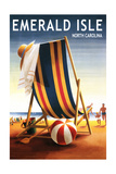 Emerald Isle, North Carolina - Beach Chair and Ball Print by  Lantern Press