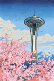 Space Needle - Cherry Blossoms Woodblock - Seattle, Washington Posters by  Lantern Press