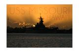 USS Missouri - Sunset Prints by  Lantern Press