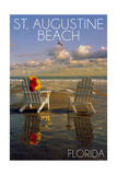 St. Augustine, Florida - Adirondack Chairs on the Beach Prints by  Lantern Press