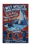 Whale Watching Tours - Vintage Sign Art by  Lantern Press