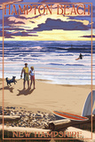 Hampton Beach, New Hampshire - Beach Scene and Surfers Walk at Sunset Posters by  Lantern Press