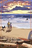 Hampton Beach, New Hampshire - Beach Scene and Surfers Walk at Sunset Posters by  Lantern Press