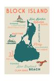 Block Island, Rhode Island and Icons Poster von  Lantern Press