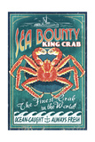 King Crab - Vintage Sign Posters by  Lantern Press