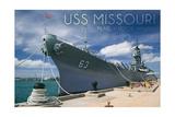 USS Missouri - Dock View Poster by  Lantern Press