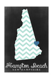 Hampton Beach, New Hampshire - Chalkboard State Outline Prints by  Lantern Press