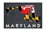 Maryland - State Outline Flag Prints by  Lantern Press