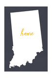 Indiana - Home State - Gray Prints by  Lantern Press