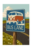 "VW Van ""Bus Lane"" Sign Prints by  Lantern Press"