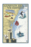 Hampton Beach, New Hampshire - Nautical Chart Poster by  Lantern Press