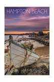 Hampton Beach, New Hampshire - Wooden Boat on Beach Posters by  Lantern Press
