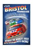 Bristol, Tennessee - Racecar Scene Prints by  Lantern Press