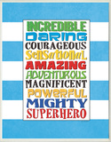 Superhero Words Wood Sign
