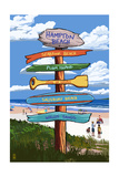Hampton Beach, New Hampshire - Destination Signpost Prints by  Lantern Press